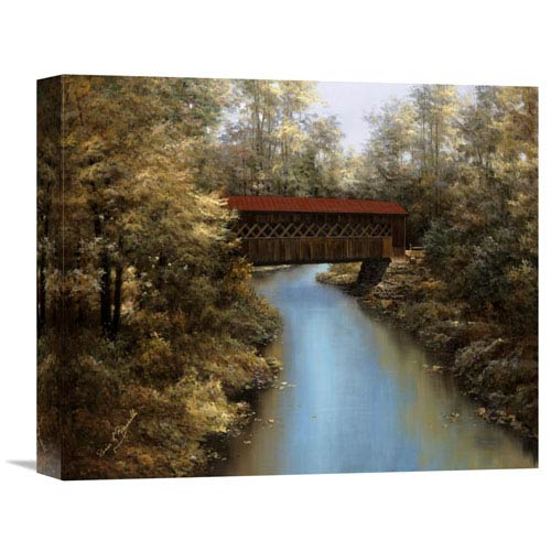 Global Gallery Covered Bridge By Diane Romanello, 16 X 13-Inch Wall Art