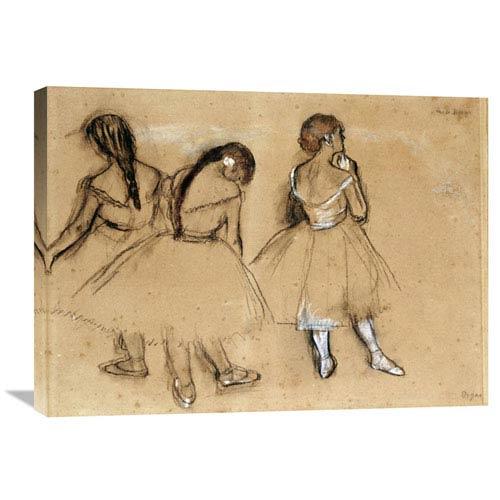 Global Gallery Three Dancers By Edgar Degas, 30 X 27-Inch Wall Art