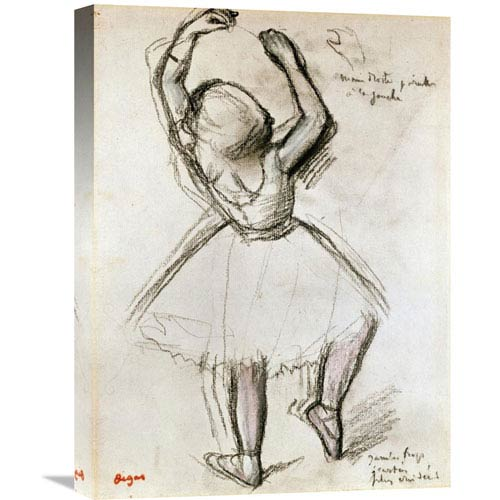 Global Gallery Backview Of A Dancer By Edgar Degas, 16 X 22-Inch Wall Art