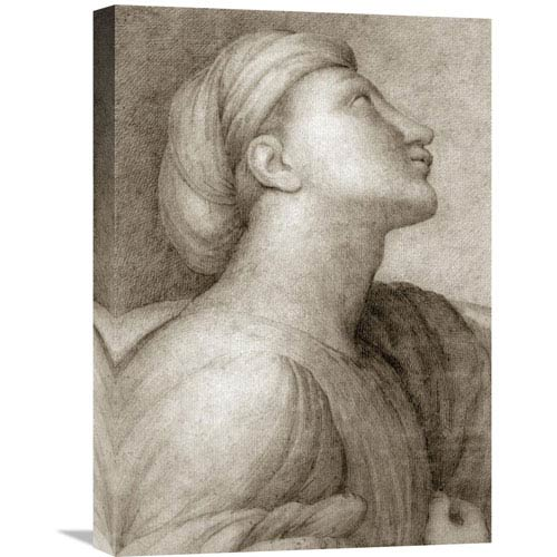 Global Gallery Profile Of A Face In The Style Of Raphael By Jean Auguste Dominique Ingres, 15 X 22-Inch Wall Art