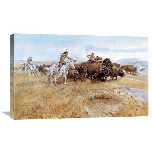 Global Gallery Buffalo Hunt By Charles M. Russell, 30 X 18-Inch Wall Art