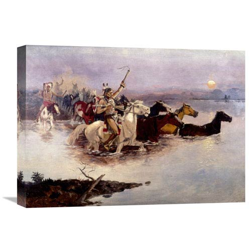 Global Gallery Crossing The River By Charles M. Russell, 22 X 16-Inch Wall Art