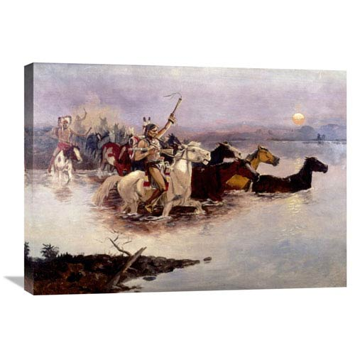 Global Gallery Crossing The River By Charles M. Russell, 30 X 21-Inch Wall Art