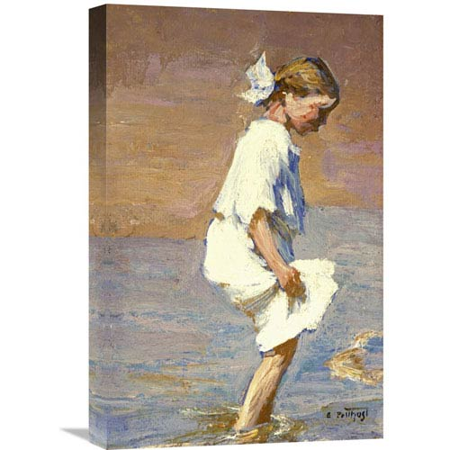 Global Gallery Wading At The Shore By Edward Henry Potthast, 14 X 22-Inch Wall Art