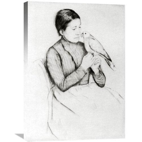 Global Gallery The Parrot 1889 By Mary Cassatt, 21 X 30-Inch Wall Art