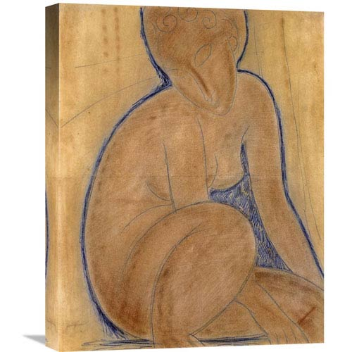 Global Gallery Crouched Nude By Amedeo Modigliani, 17 X 22-Inch Wall Art