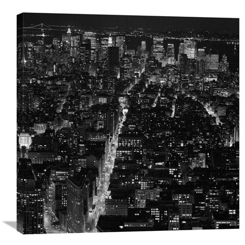 Global Gallery Manhattan By Night By Philippe Levy-Stab, 30 X 30-Inch Wall Art