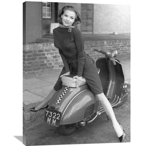Global Gallery Posing On Motor Scooter By Unknown, 30 X 40-Inch Wall Art