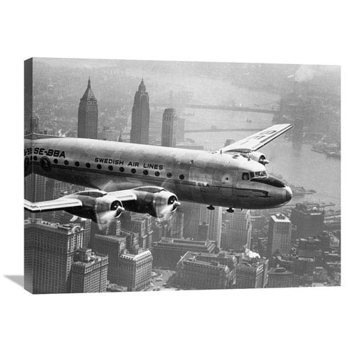 Global Gallery Aircraft Flying Over City, 1946 By Unknown, 32 X 24-Inch Wall Art