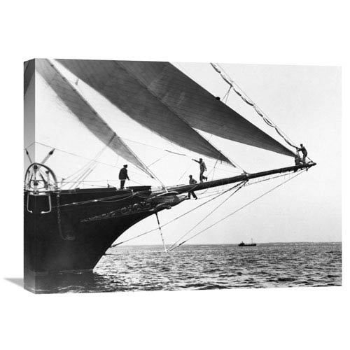 Global Gallery Ship Crewmen Standing On The Bowsprit, 1923 By Edwin Levick, 24 X 18-Inch Wall Art