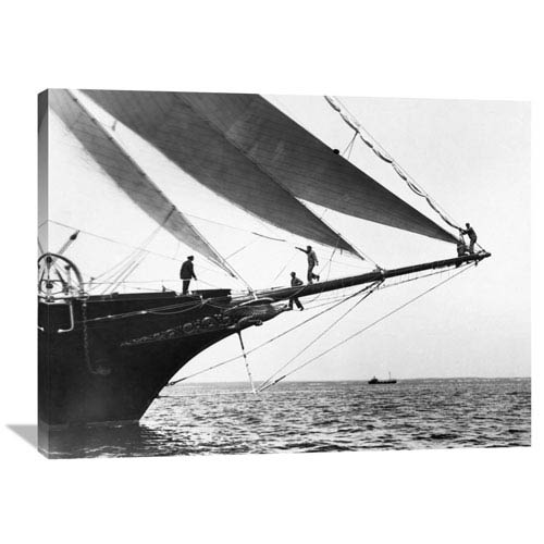Global Gallery Ship Crewmen Standing On The Bowsprit, 1923 By Edwin Levick, 40 X 30-Inch Wall Art