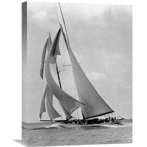 Global Gallery The Schooner Half Moon At Sail, 1910S By Edwin Levick, 18 X 24-Inch Wall Art
