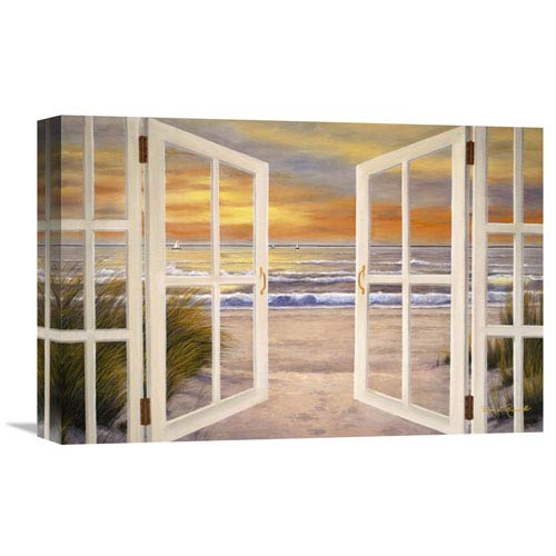 Global Gallery Sunset Beach By Diane Romanello, 18 X 12-Inch Wall Art