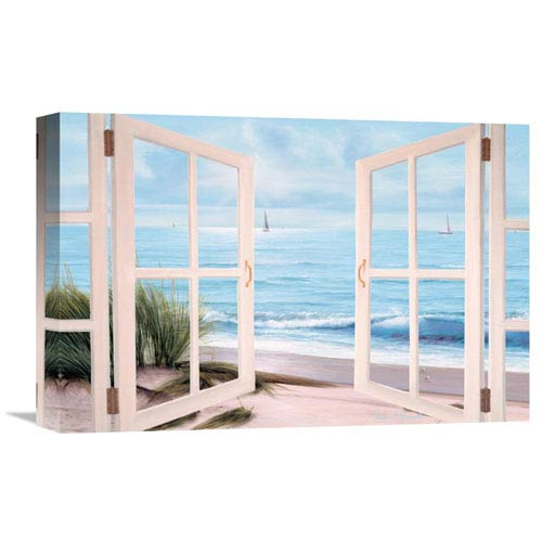 Global Gallery Sandpiper Beach Through Door By Diane Romanello, 18 X 12-Inch Wall Art