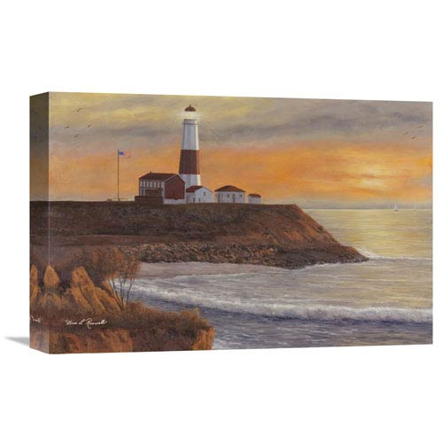 Global Gallery Montauk Lighthouse Sunset By Diane Romanello, 18 X 12-Inch Wall Art