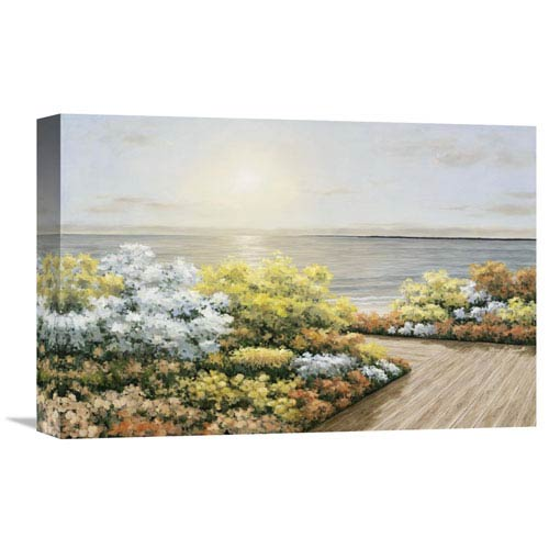 Global Gallery Deck And Flowers By Diane Romanello, 18 X 12-Inch Wall Art
