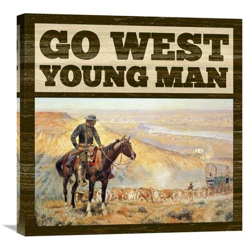 Global Gallery Western Go West Young Man By Bg.Studio, 24 X 24-Inch Wall Art