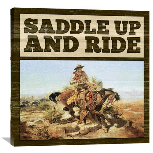 Global Gallery Western Saddle Up By Bg.Studio, 36 X 36-Inch Wall Art