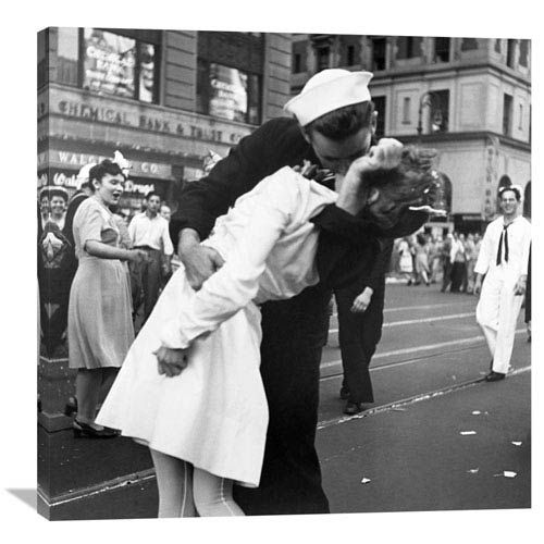 Global Gallery Kissing The War Goodbye In Times Square, 1945, Ii By Victor Jorgensen, 36 X 36-Inch Wall Art