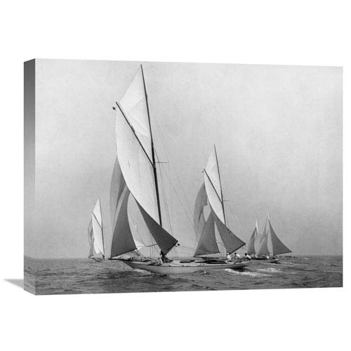 Global Gallery Sailboats Sailing Downwind, Ca. 1900 1920 By Edwin Levick, 24 X 18-Inch Wall Art