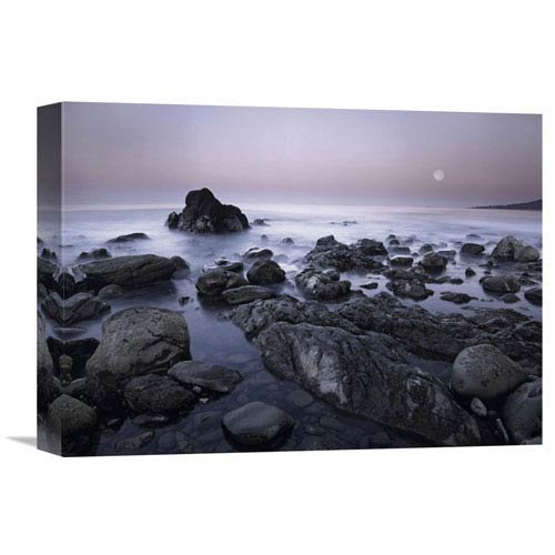 Global Gallery Full Moon Over Boulders At El Pescador State Beach, Malibu, California By Tim Fitzharris, 12 X 16-Inch Wall