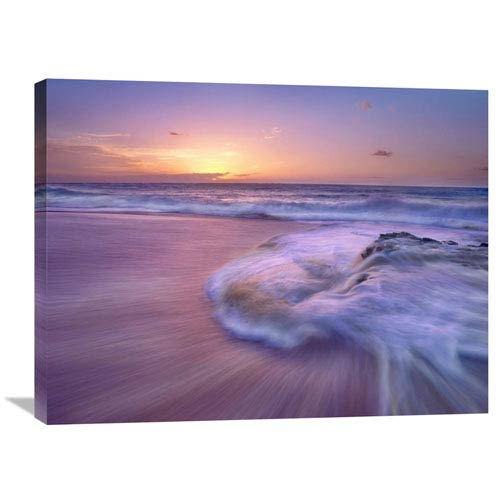 Global Gallery Sandy Beach At Sunset, Oahu, Hawaii By Tim Fitzharris, 24 X 32-Inch Wall Art