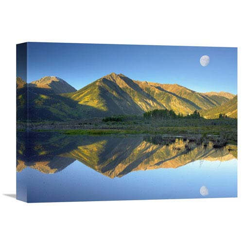 Global Gallery Moon And Twin Peaks Reflected In Lake, Colorado By Tim Fitzharris, 12 X 16-Inch Wall Art