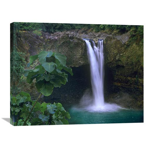 Global Gallery Rainbow Falls Cascading Into Pool, Big Island, Hawaii By Tim Fitzharris, 24 X 32-Inch Wall Art