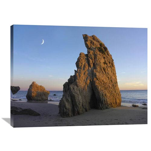 Global Gallery Crescent Moon Over El Matador Beach, Malibu, California By Tim Fitzharris, 30 X 40-Inch Wall Art