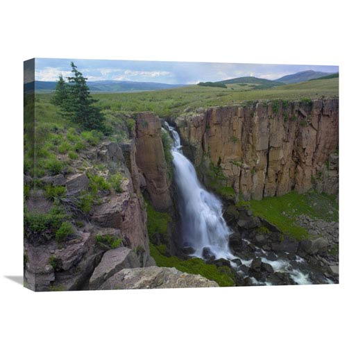Global Gallery North Clear Creek Waterfall Cascading Down Cliff, Colorado By Tim Fitzharris, 18 X 24-Inch Wall Art