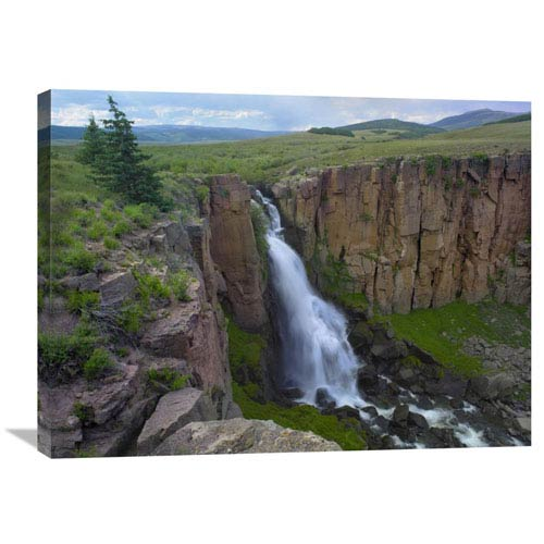 Global Gallery North Clear Creek Waterfall Cascading Down Cliff, Colorado By Tim Fitzharris, 24 X 32-Inch Wall Art