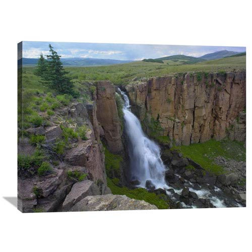 Global Gallery North Clear Creek Waterfall Cascading Down Cliff, Colorado By Tim Fitzharris, 30 X 40-Inch Wall Art
