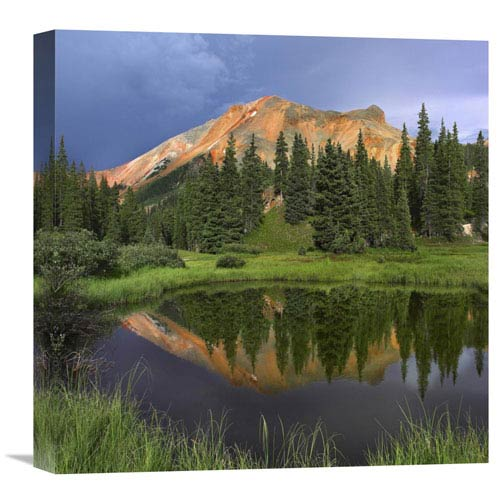 Global Gallery Red Mountain Reflected In Pond, San Juan Mountains, Colorado By Tim Fitzharris, 18 X 18-Inch Wall Art