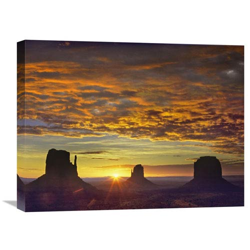 Global Gallery The Mittens And Merrick Butte At Sunrise, Monument Valley, Arizona By Tim Fitzharris, 18 X 24-Inch Wall Art