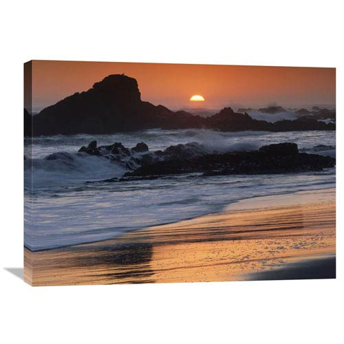 Global Gallery Crashing Surf On Rocks At Sunset, Point Piedras Blancas, California By Tim Fitzharris, 24 X 32-Inch Wall Art