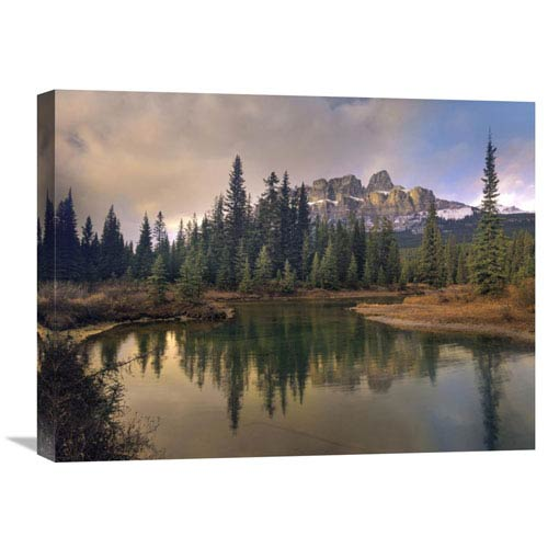 Global Gallery Castle Mountain And Boreal Forest Reflected In Lake, Alberta, Canada By Tim Fitzharris, 18 X 24-Inch Wall Art