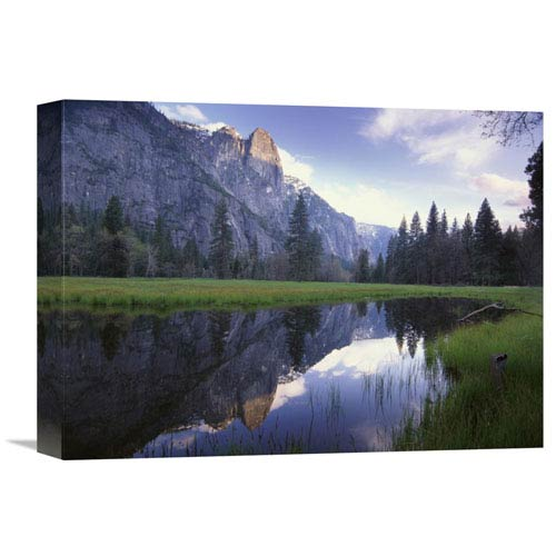 Global Gallery Sentinel Rock, Reflected In Water, Yosemite National Park, California By Tim Fitzharris, 12 X 16-Inch Wall Art