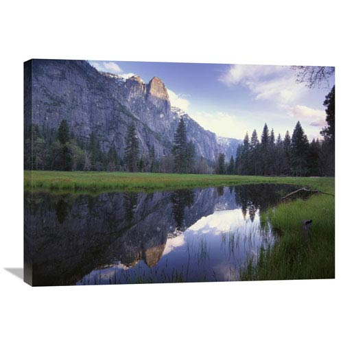Global Gallery Sentinel Rock, Reflected In Water, Yosemite National Park, California By Tim Fitzharris, 24 X 32-Inch Wall Art