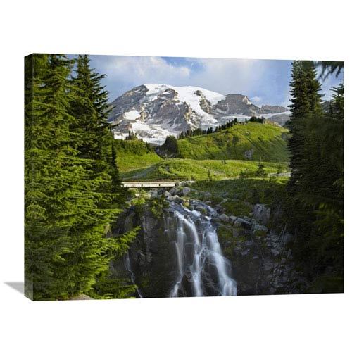 Global Gallery Myrtle Falls And Mount Rainier, Mount Rainier National Park, Washington By Tim Fitzharris, 24 X 32-Inch Wall