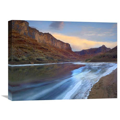 Global Gallery Ice On The Colorado River Beneath Sandstone Cliffs, Cataract Canyon, Utah By Tim Fitzharris, 18 X 24-Inch Wall