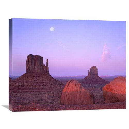 Global Gallery East And West Mittens, Buttes At Sunrise With Full Moon, Monument Valley, Arizona By Tim Fitzharris, 22 X