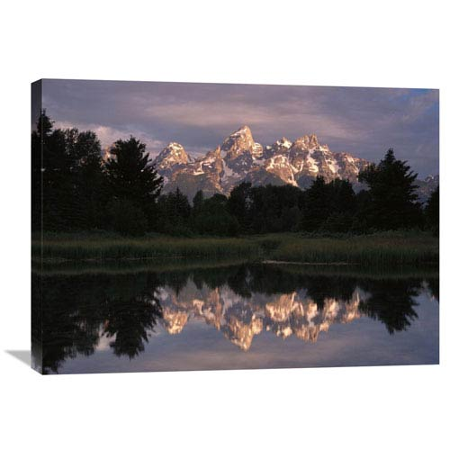 Global Gallery Grand Teton Range And Cloudy Sky At Schwabacher Landing, Reflected In The Water, Grand Teton National Park,