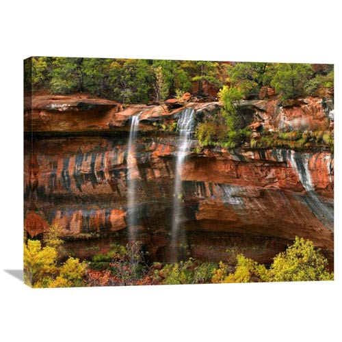 Global Gallery Cascades Tumbling 110 Feet At Emerald Pools, Zion National Park, Utah By Tim Fitzharris, 24 X 32-Inch Wall Art