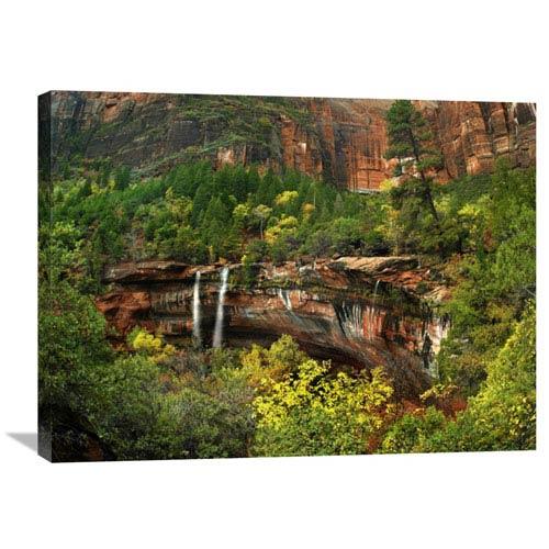 Global Gallery Cascades Tumbling 110 Feet At Emerald Pools, Zion National Park, Utah By Tim Fitzharris, 24 X 32-Inch Wall Art