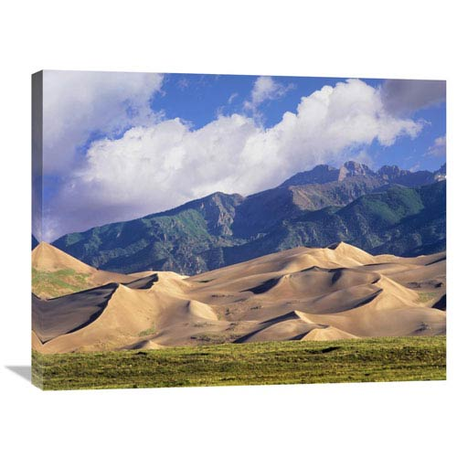 Global Gallery Sand Dunes With Sangre De Cristo Mountains In The Background, Great Sand Dunes National Park And Preserve,
