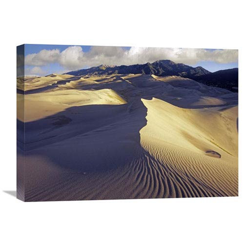 Global Gallery Rippled Sand Dunes With Sangre De Cristo Mountains In The Background, Great Sand Dunes National Park And