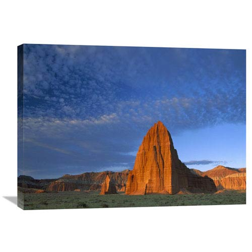 Global Gallery Temples Of The Sun And Moon In Cathedral Valley, The Monolith Is Made Of Entrada Sandstone, Capitol Reef