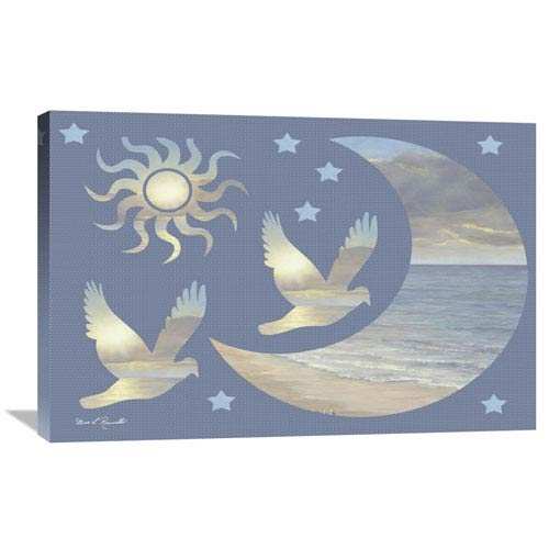 Global Gallery Moon And Stars By Diane Romanello, 36 X 24-Inch Wall Art