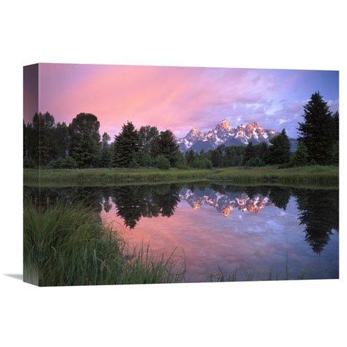 Global Gallery Grand Teton Range At Schwabacher Landing, Grand Teton Np, Wyoming By Tim Fitzharris, 12 X 16-Inch Wall Art
