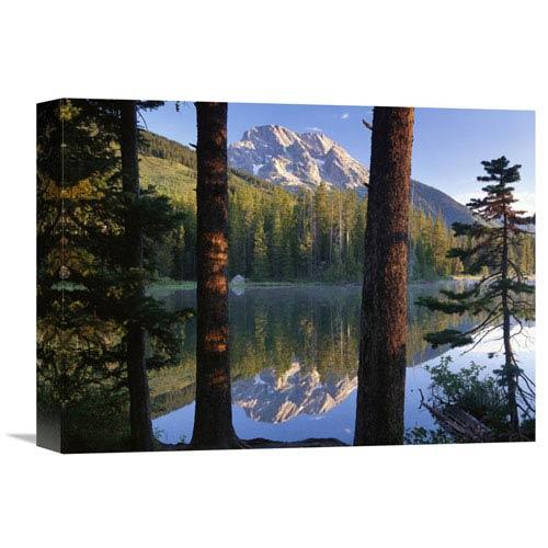 Global Gallery Mt Moran Reflected In String Lake, Grand Teton Np, Wyoming By Tim Fitzharris, 12 X 16-Inch Wall Art